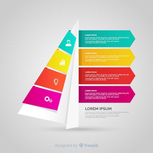 Infografía numerada por pasos tridimensional y colorida vector gratuito