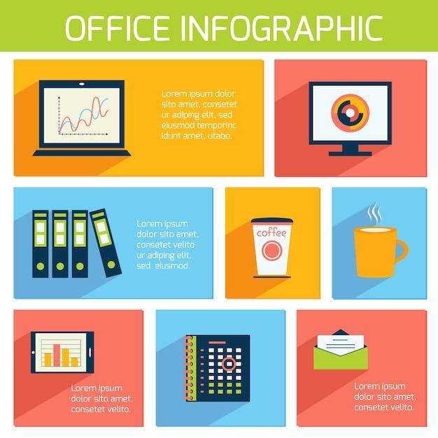 Infograf a oficina plana plantilla de negocios con for Suministros de papeleria para oficina