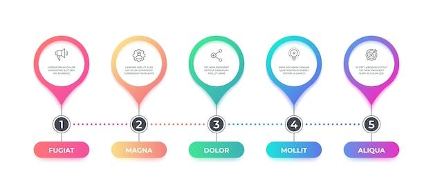 Infografía de paso. opciones diagrama de flujo de la línea de tiempo, elemento gráfico empresarial, diagrama infográfico de diseño de flujo de trabajo. concepto de banner gráfico de paso Vector Premium