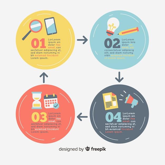 Infografía con pasos en diseño plano vector gratuito