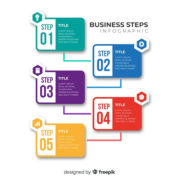 Infografía de pasos en diseño plano vector gratuito