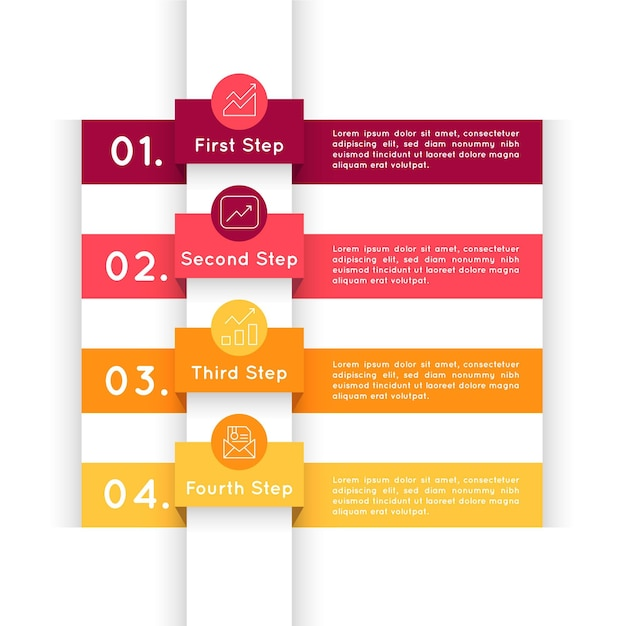 Infografía de pasos de diseño plano vector gratuito