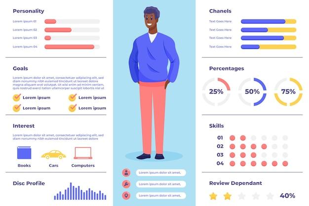 Infografía de persona de comprador de diseño plano con hombre vector gratuito