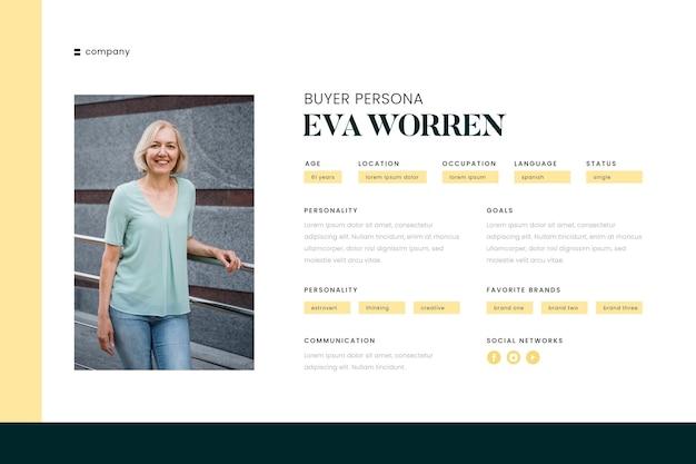 Infografía de persona de comprador con foto de mujer. vector gratuito