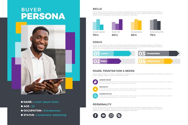 Infografía de persona de comprador plana con foto de hombre vector gratuito