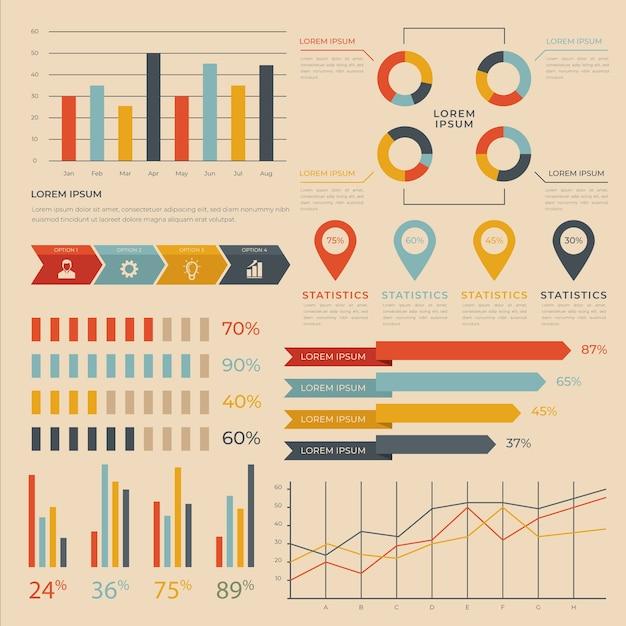 Infografía plana con colores retro. vector gratuito