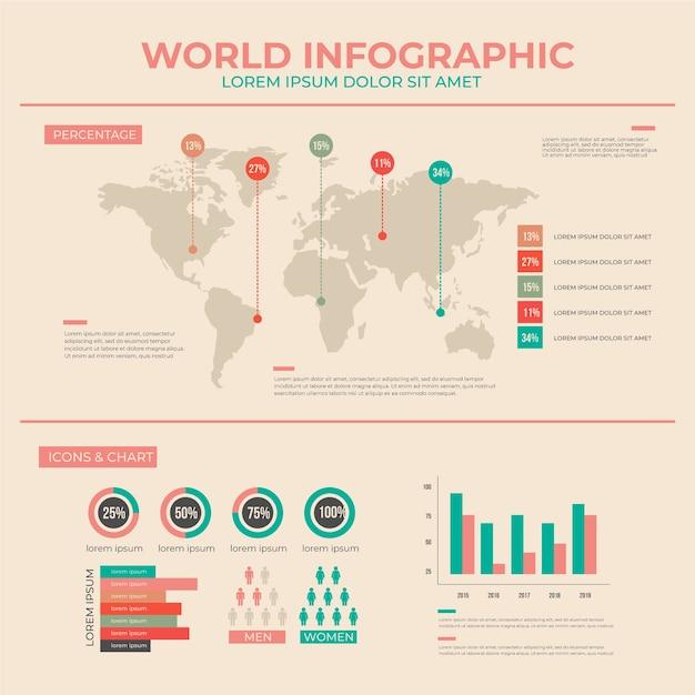 Infografía plana con colores vintage. vector gratuito