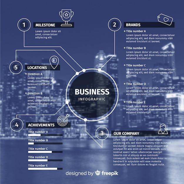 Infografía plana de negocios con foto. vector gratuito