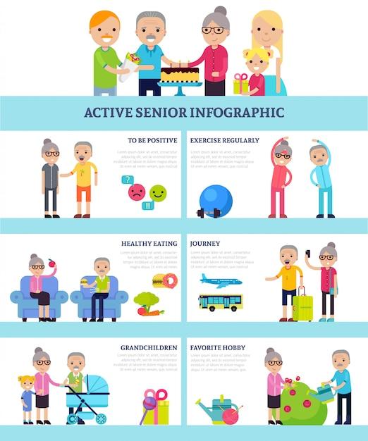 Infografía plana de personas mayores activas vector gratuito