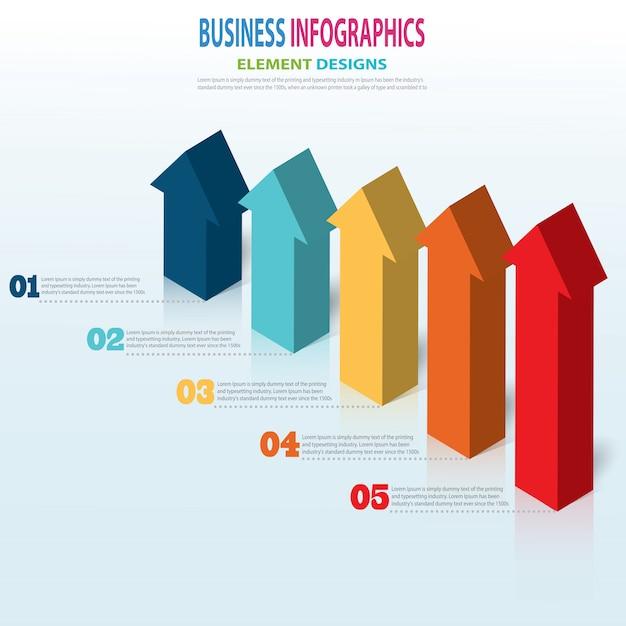 Infografía plantilla empresarial pasos de flecha 3d para presentación, pronóstico de venta Vector Premium