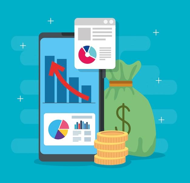 Infografía de recuperación financiera en teléfonos inteligentes e íconos vector gratuito