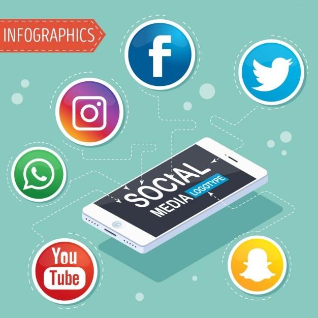 Infografía con símbolos de redes sociales vector gratuito
