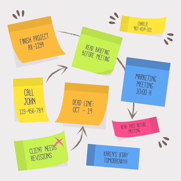 Infografía de tableros post-its planos vector gratuito
