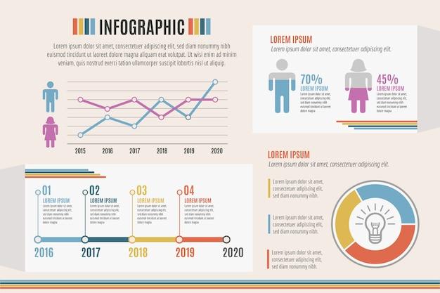Infografía con tema de colores retro vector gratuito