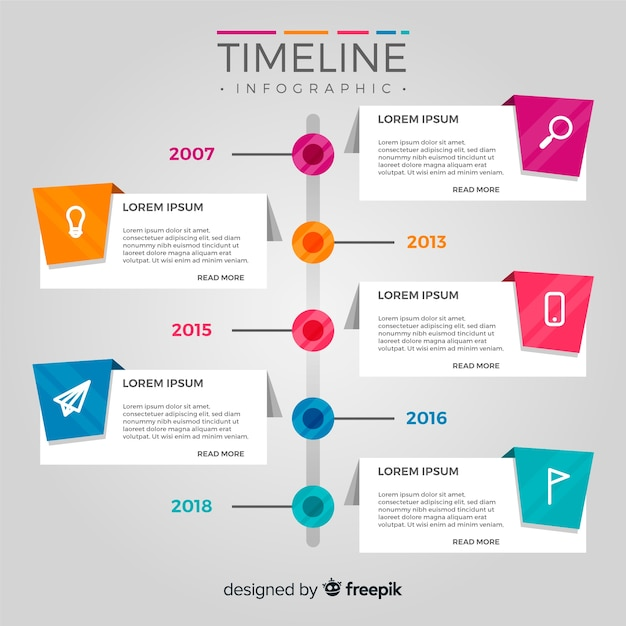 Infografía de timeline en diseño plano Vector Premium