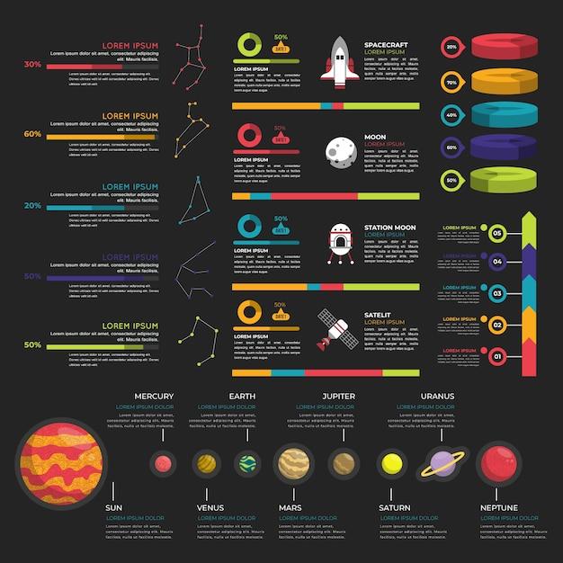 Infografía del universo en diseño plano vector gratuito