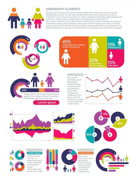 Infografía de vectores de población de personas con gráficos de negocios, diagramas e iconos de mujer hombre. concepto economico global Vector Premium