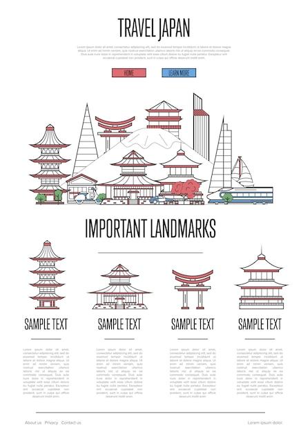 Infografía de viajes a japón en estilo lineal Vector Premium