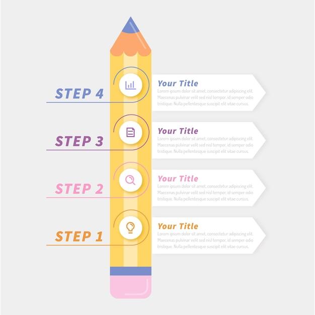Infografías de educación en diseño plano. Vector Premium