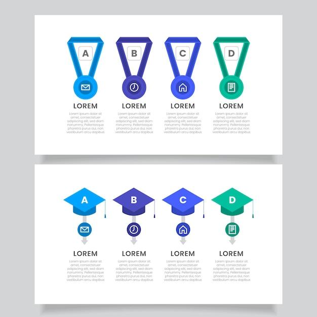 Infografías de educación en diseño plano. vector gratuito