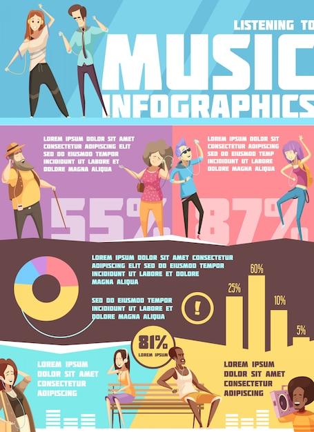 Infografías con información y gráficos sobre personas. vector gratuito