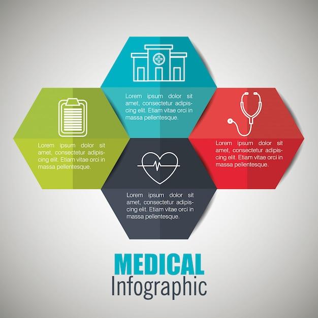 Infografías médicas con cuatro opciones vector gratuito