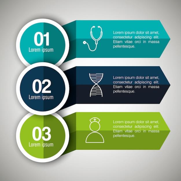 Infografías médicas con tres pasos vector gratuito