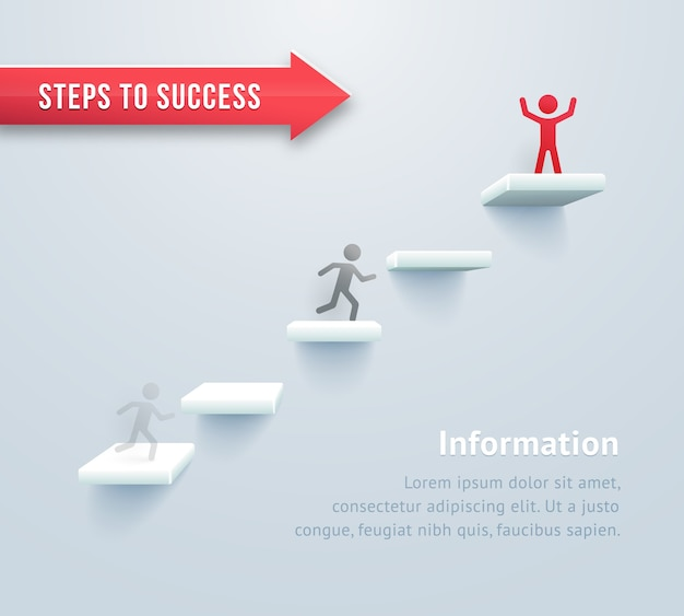 Infografías paso a paso. pasos para el éxito vector gratuito