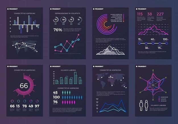 Infografías, plantillas de folletos para informes comerciales con gráficos de líneas y diagramas. Vector Premium
