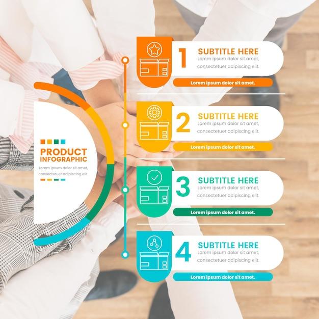 Infografías de productos con foto. vector gratuito