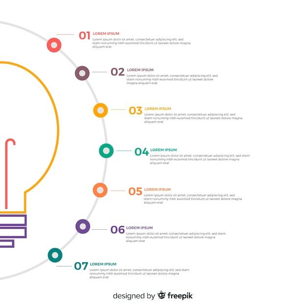 Infográfica de bombilla de luz Vector Premium
