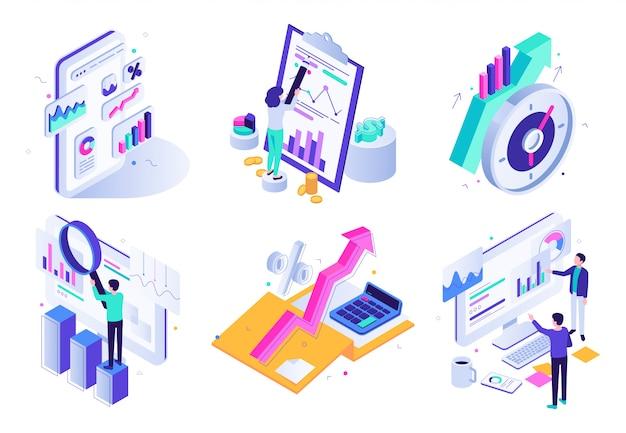 Informe analítico de mercado. auditoría financiera, revisión de estrategia de marketing y conjunto de ilustración isométrica de estadísticas comerciales de finanzas Vector Premium