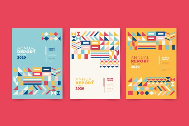 Informe anual abstracto colorido con diseño tradicional vector gratuito