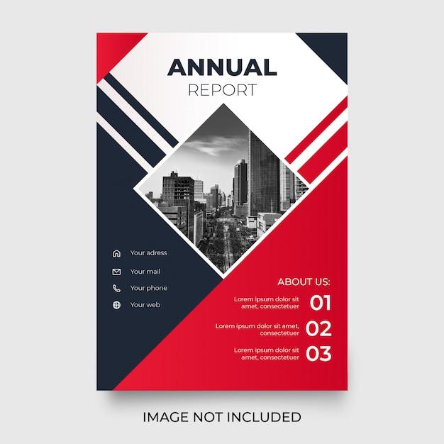 Informe anual moderno con formas rojas vector gratuito