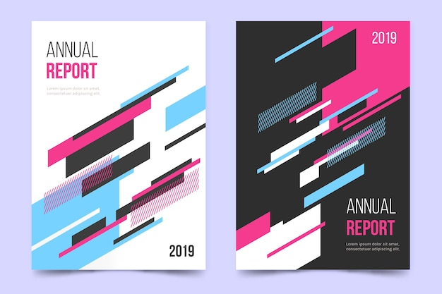 Informe anual con plantilla de líneas geométricas coloridas vector gratuito
