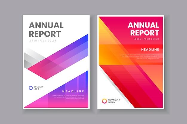 Informe anual en plantilla de tonos degradados vector gratuito