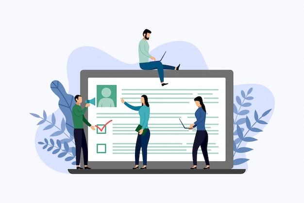 Informe de encuesta en línea, lista de verificación, cuestionario, ilustración de vector de concepto de negocio Vector Premium