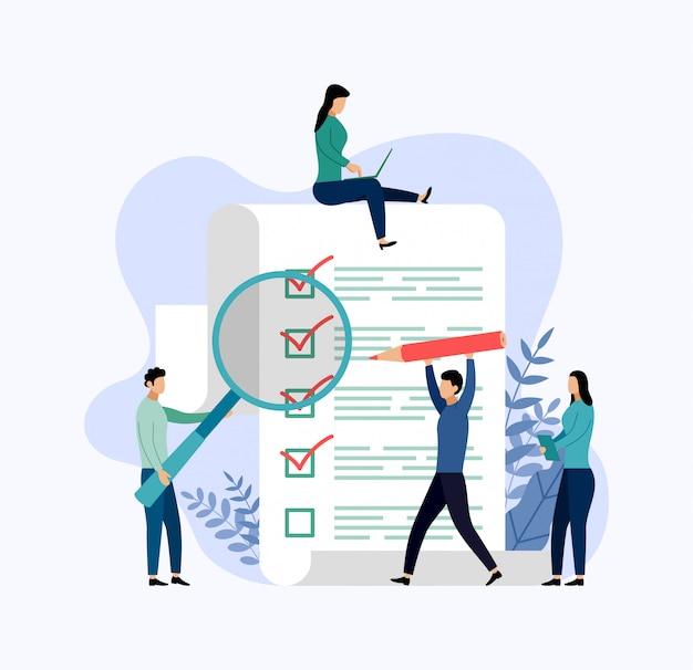 Informe de la encuesta, lista de verificación, cuestionario, ilustración de vector de concepto de negocio Vector Premium