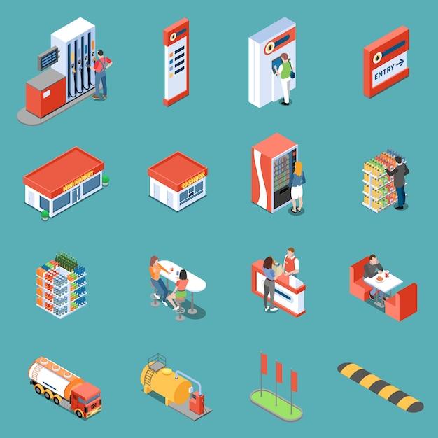 Infraestructura de la estación de servicio y servicios para clientes isométricos iconos aislados ilustración vectorial vector gratuito