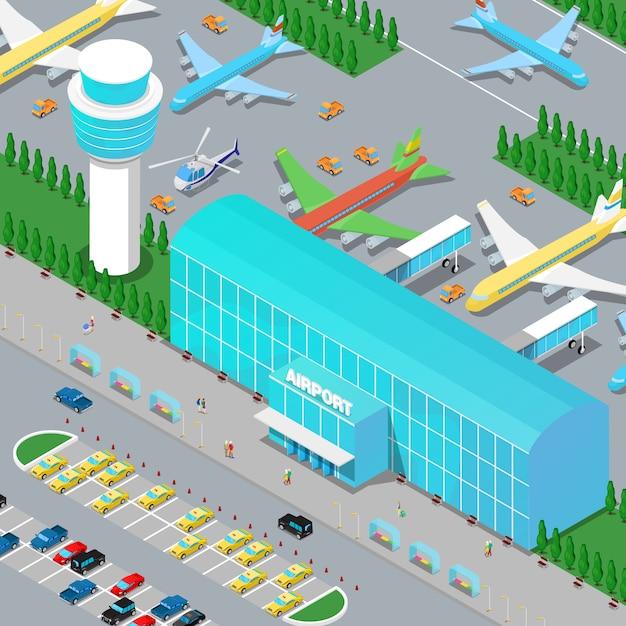 Infraestructura isométrica del aeropuerto con pista de helicópteros de aviones y área de estacionamiento. Vector Premium