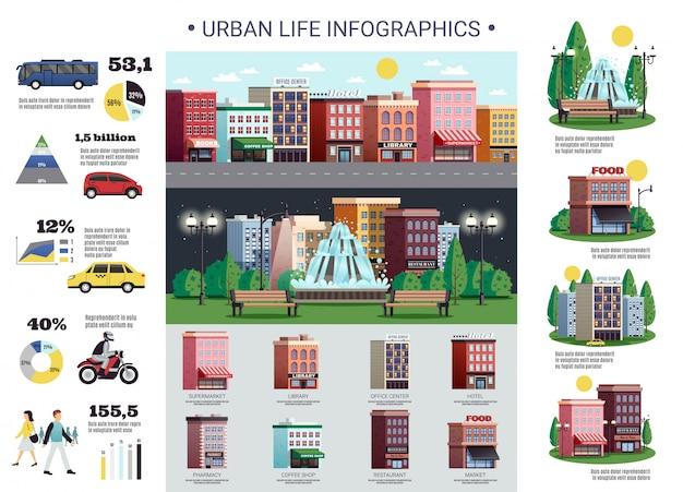 Infraestructura de vida urbana edificios infográficos vector gratuito