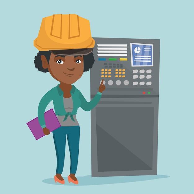 Ingeniero industrial trabajando en panel de control. Vector Premium