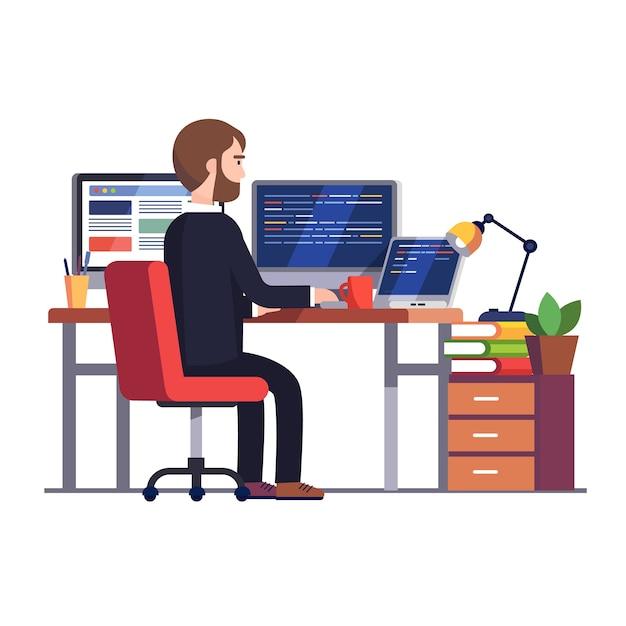 Ingeniero programador profesional escribiendo código Vector Gratis