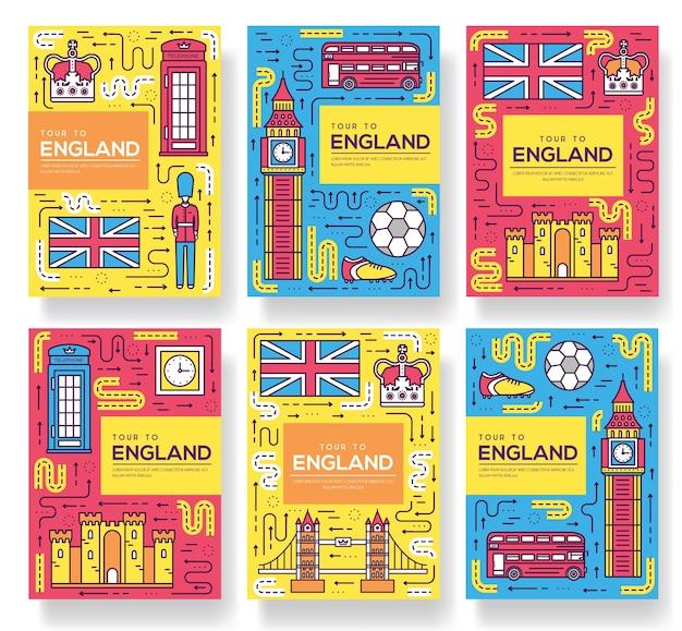Inglaterra folleto tarjetas conjunto de línea fina. plantilla de viaje de país de flyear, portada de libro, pancartas. Vector Premium