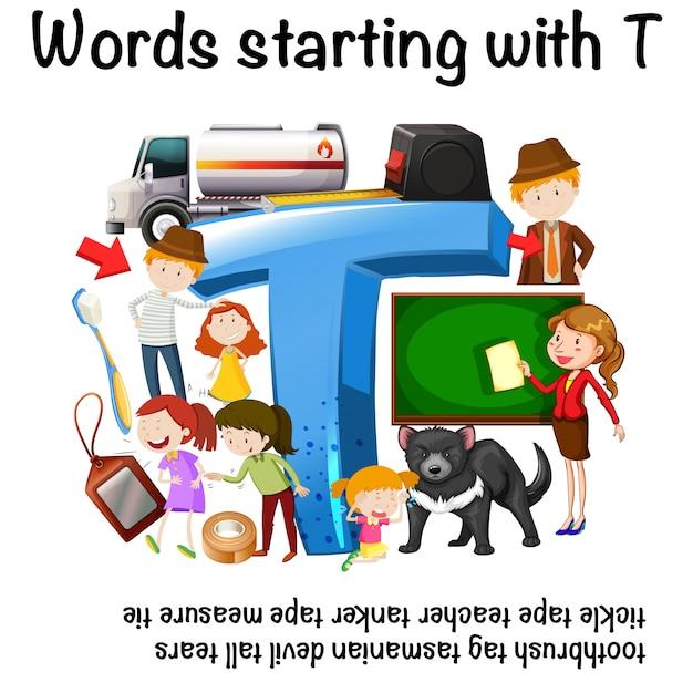 Inglés hoja de trabajo para palabras que comienzan con t | Descargar ...