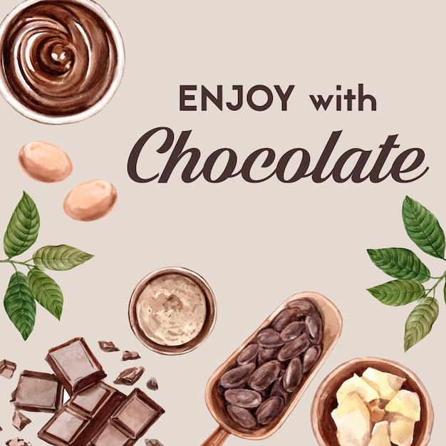 Ingredientes de acuarela de chocolate, haciendo cacoa de chocolate y ilustración de mantequilla. vector gratuito