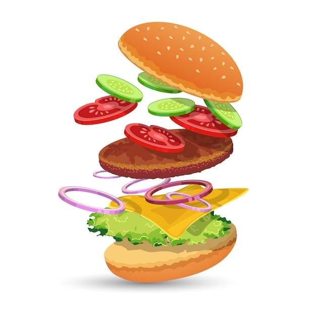 Ingredientes de la hamburguesa vector gratuito