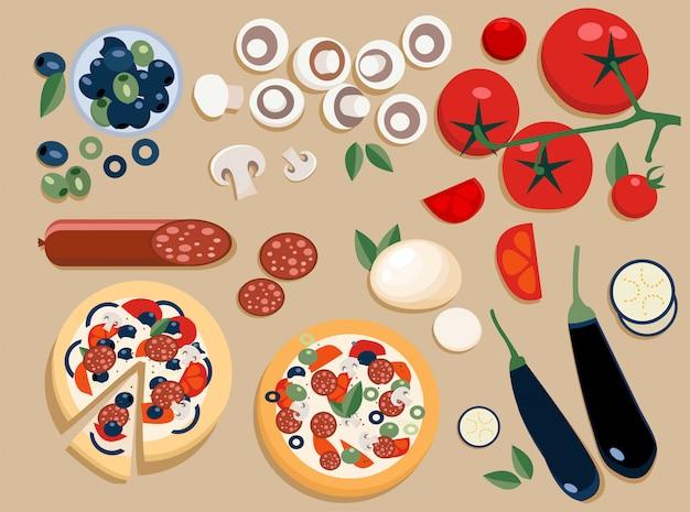 Los ingredientes de la pizza se ponen enteros y se cortan en pedazos. Vector Premium