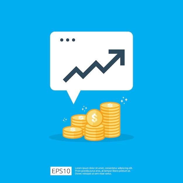 Ingresos salario salario tasa aumento estadística. ingresos de margen de crecimiento de ganancias de negocios rendimiento financiero del retorno de la inversión concepto de roi con flecha. icono de venta de estilo plano Vector Premium