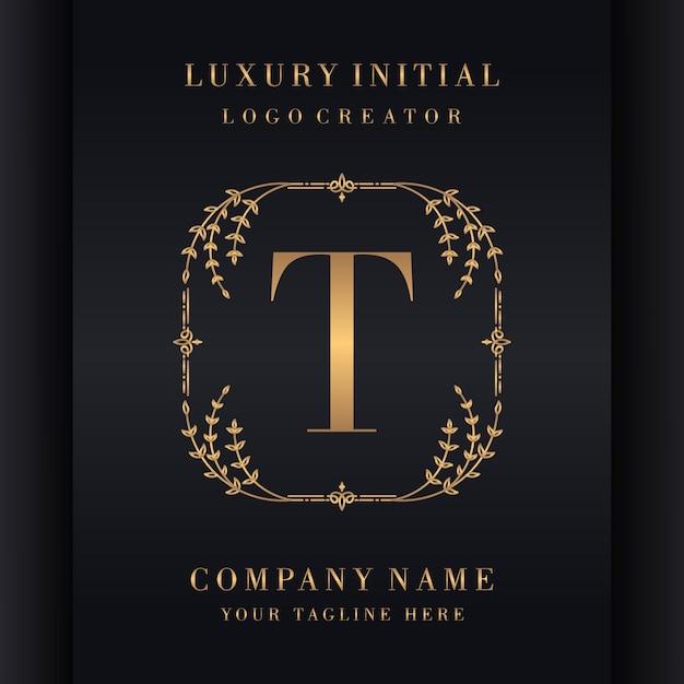 Inicial de lujo premium con marco floral Vector Premium